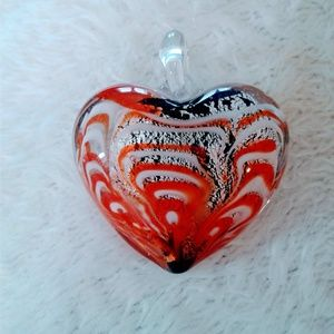 Jewelry - red white black puffy glass heart pendant